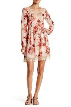 Lace-Up Back Lace Trim Floral Dress