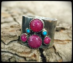 Sterling Silver - Rustic Ruby and Turquoise Ring