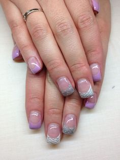 Purple|gray & |white #Gel Nails