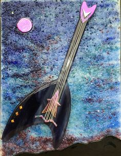 """Star Trek Guitar"".    Fused Glass, Star Trek, Space, Music"
