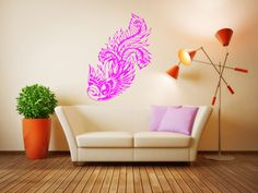 Wall Vinyl Sticker Decals Mural Room Design Decor Art Bird Feathers Peacock Phoenix Nature bo2421 by RoomDecalsAndDesigns on Etsy