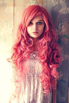 Pink hair red dress
