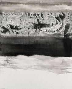 GAO XINGJIAN  (NE EN 1940)  LA REVELATION DE LA MER, 2008  Encre sur toile  Signée et datée en bas à gauche  100,5 x 80,5 cm - 391/2 x 313/4 in.