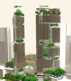 Adding layers of green zones to our building is not only good because it will fight the thermal island issue but also is a really efficient way of integrating nature in our cities and making a nature-hybrid city. Architecture Concept Drawings, Green Architecture, Futuristic Architecture, Sustainable Architecture, Architecture Design, Mix Use Building, High Rise Building, Green Building, Building Design