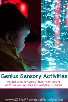 Explore dozens of sensory activities and ideas for preschool to teens. Learn about all 8 sensory systems and how to incorporate them into sensory play. Sensory System, Sensory Bins, Sensory Activities, Infant Activities, Sensory Play, Science Projects For Kids, Indoor Activities For Kids, Science Lessons, Summer Activities