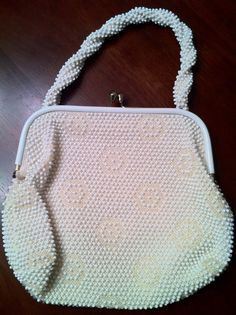 Vintage 50s 60s Off White Corde Bead Handbag by PetitChatVintage