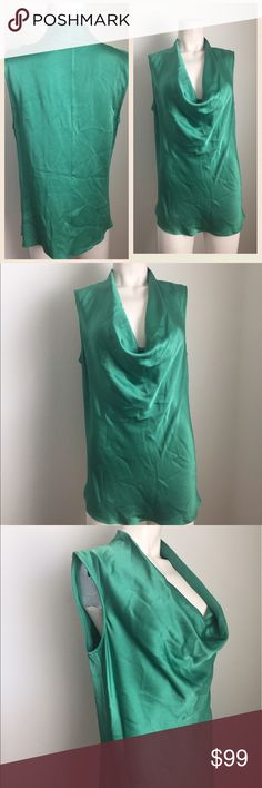 Theory Green Cowl Neck Top Gorgeous green top by Theory. Has a Cowl neck/ draped neckline. Pullover design. The perfect top to go from day to night- wear at work, and wear for a night on the town. #42101703 Theory Tops