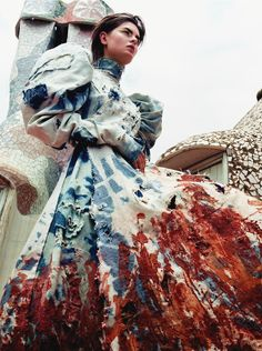 Anouck Lepere in Alexander McQueen Fall Winter 2000; photographed by Craig McDean for Harper's Bazaar, October 2000 (s...