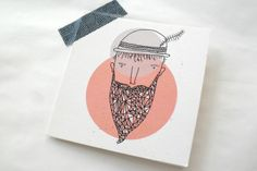 Mr Gembeard Gift Card by Lauren Fowler Stitch Kit, Illustration Art, Illustrations, Greeting Cards, Gift Cards, Christmas Time, Fathers Day, Pony, Cool Designs