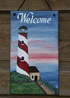 Lighthouse Decor Welcome Sign / Nautical Decor Door Sign / Personalized Family Name Plaque – Home Design Arts Lilac Painting, Acrylic Painting Canvas, Acrylic Art, Starfish Painting, Lighthouse Decor, Lighthouse Painting, Diy Canvas, Canvas Art, Painted Slate