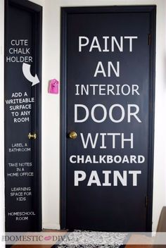 DIY Chalkboard Paint Ideas for Furniture Projects, Home Decor, Kitchen, Bedroom, Signs and Crafts for Teens. |  Interior Door Chalkboard   |  http://diyjoy.com/diy-chalkboard-paint-ideas