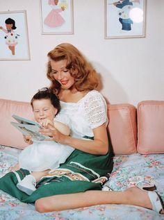 vintagegal:  Rita Hayworth and her daughter Rebecca Welles photographed by Robert Coburn, 1945
