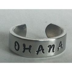 OHANA Ring - aluminium - Hand Stamped - Custom Made Cuff Ring (92 ARS) ❤ liked on Polyvore