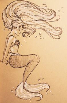 Ariel by jennapaddey.deviantart.com on @DeviantArt Very cool mermaid sketch. #mywatergallery