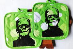 Frankenstein Pot Holders -  Hot Pads - Green and white polka dot. Kitsch Kitschy Halloween Horror kitchen decor kitchenware cooking baking on Etsy, $12.00