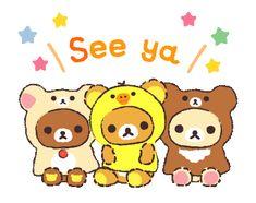 Bear Cartoon, Cute Cartoon, Bye Gif, Rilakkuma Wallpaper, Gifs, Line Sticker, School Life, Stickers, Dog Quotes
