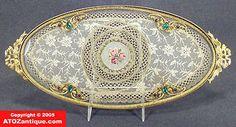 Antique Porcelain Perfume Trays | Jeweled Oval Ormolu Vanity Dresser Tray w/ Lace