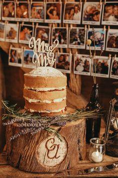 Naked Cake Sponge Layer Creative Yellow Grey Barn Wedding http://www.hajley.com/