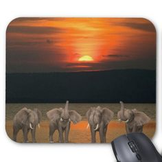 Four Happy Elephants Mouse Pad