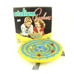 50s Stadium Checkers game Vintage game 50s Marble by DrVintage, $14.99