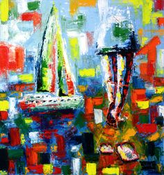 Oil on canvas about happy days by the sea by Lubosh Valenta Oil On Canvas, Canvas Art, Original Paintings, Original Art, Abstract Art, Abstract Expressionism, Summer Dream, Seascape Paintings, Art Oil