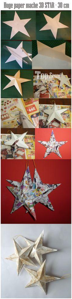 Paper mache Star - 30 cm