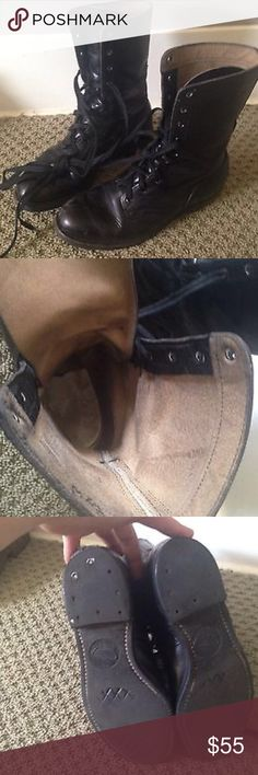 AUTHENTIC MILITARY COMBAT BOOTS GENUINE LEATHER Awesome SOLID stompy combat boots!! Well loved wear but still many miles left!! Shoes Combat & Moto Boots