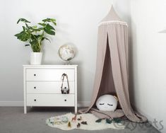 A muslin canopy in light beige colour with a stars motif. The best place to play and relax. Childrens Bed Canopy, Kids Canopy, Canopy Bed Curtains, Canopy Tent, Hanging Tent, Star Wars, Cozy Corner, Reading Nook, Girls Bedroom