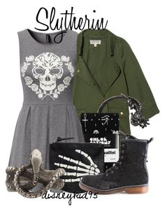 """""""Slytherin"""" by disneykid95 ❤ liked on Polyvore featuring TEXTILE Elizabeth and James, Roberto Cavalli, H&M, Monki and ZoÃ« Chicco"""