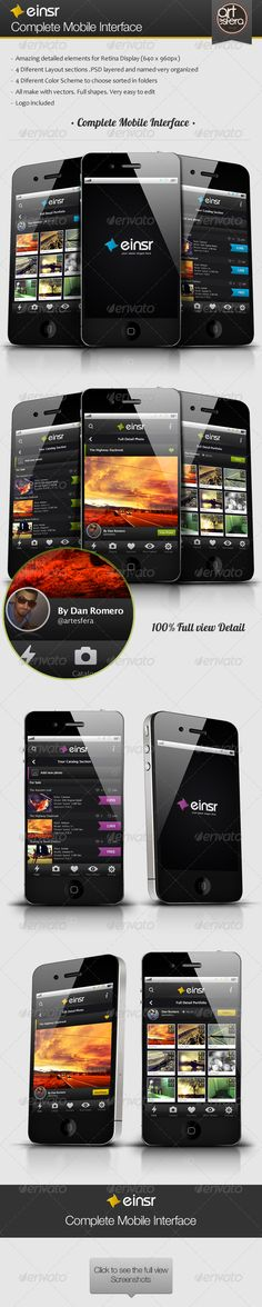 Einsr - Complete Mobile Interface - GraphicRiver Item for Sale