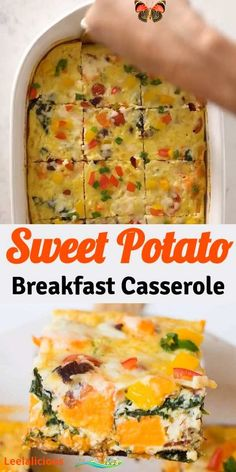 SWEET POTATO BREAKFAST CASSEROLE This healthy Sweet Potato Breakfast Casserole is a perfect way to feed a crowd with eggs, bacon, spinach and more veggies. The overnight option makes it especially appealing for the holidays.  #healthy #sweetpotato #breakfast #casserole #bacon #eggs #spinach #veggies #holidays #christmas #vegetarian #brunch #recipe #videos #easy #glutenfree #overnight<br>
