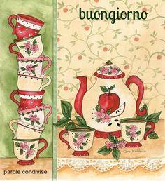 """Apple Tea Party"" Wouldn't this make a sweet art quilt. Decoupage Vintage, Vintage Diy, Decoupage Paper, Tee Kunst, Paper Art, Paper Crafts, Decoupage Printables, Apple Tea, Teapots And Cups"