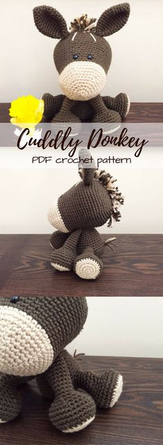 Cute little cuddly donkey crochet pattern to make. Love this humble little guy with his tuft of hair and long adorable ears. Lovely unique handmade gift to make! #etsy #ad