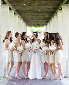 Wow, those are perfect bridesmaid dresses! Off white... Never thought of that and I really like the idea!