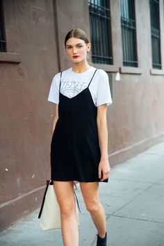 b75f1915bd65f easy outfits t-shirt slip dress black over white print t shirt tote model  fashion inspo trends summer winter fall spring street style cool  accessories ...