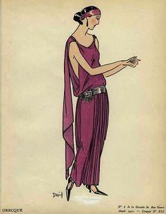 """1922 - """"Grecque"""" evening dress in La Gazette du Bon Ton"""