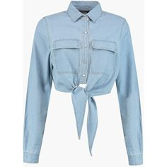 Boohoo Tori Cropped Tie Front Denim Shirt (124145 PYG) ❤ liked on Polyvore featuring tops, crop tops, shirts, long sleeve shirts, denim shirt, long-sleeve shirt, blue crop top and long-sleeve crop tops
