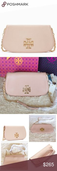 BRAND NEW TORY BURCH BRITTEN CLUTCH/  LIGHT OAK Authentic. Brand new with dust bag, gift bag and shopping bag. Defined by a clean, versatile shape punctuated with a cut-out double-T logo, Britten Clutch is made of soft pebbled leather.The style features a zip compartment on the inside and another one hidden beneath the flap,great for a phone and keys.It doubles as a hands-free cross-body when you attach the optional,adjustable chain-adorned strap.Removable, adjustable leather and chain strap…