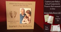 LoveMotifs creates custom etched keepsakes using the child's actual footprints!  Perfect to give as gifts since the imprint kit is nicely packaged and has everything needed to take the footprints and send back for custom creation!