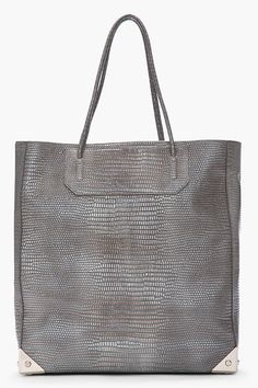 Alexander Wang Taupe and grey Lizard Embossed leather Prisma Tote