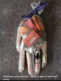 Halloween Party Favors - surgical gloves filled with candy!