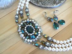 Myles Necklace and Matching Earrings by jillzaleski on Etsy, $250.00