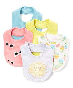 $7.99 marked down from $15! Yellow & Gray Sun & Sunglasses Bib Set - Infant #bibs #baby #zulily! #zulilyfinds