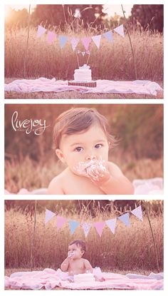1 Year Baby Girl Photo Session and Cake Smash Outdoors #livejoyphotography #babymilestone