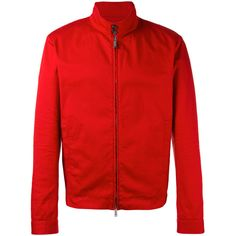 Dsquared2 - bomber jacket - men - Cotton/Spandex/Elastane - 50 ($950) ❤ liked on Polyvore featuring men's fashion, men's clothing, men's outerwear, men's jackets, red, mens red jacket, mens bomber jacket, mens flight jacket and mens red bomber jacket