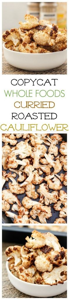 The BEST (and healthy!) Roasted Curried Cauliflower Ever- You'll never make it any other way again! {Vegan, gluten free, paleo recipe}-…