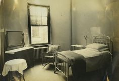This is a view of one of the private rooms at the hospital (Private Room 221), taken sometime in the late 1920s at Lancaster General Hospital. Private rooms weren't as common at LGH then as they are today, as most patients back then would stay in larger wards where the beds would be separated by a large curtain.