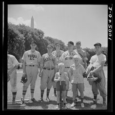 "July, 1942. ""Washington, D.C. Amateur baseball team recruited from garage workers who have just won a Sunday game against the employees' recreation association team at the Ellipse."" Collins, Marjory, 1912-1985, photographer. Farm Security Administration – Office of War Information Photograph Collection, Library of Congress."