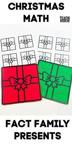 Christmas Math- fact family presents #math #addition #subtraction #Holiday #Christmas #multiplication #division #factfamily