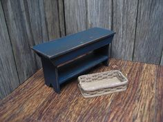 Dollhouse Miniature Bench and Basket Country Primitive